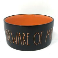 "NEW Rae Dunn Beware of Me! Pet / Serving Bowl Orange Black 5.5"" Diameter Small"