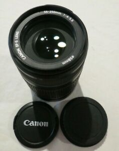 CANON ZOOM TELEPHOTO EF-S 1.4-5.6 55-250MM IS CAMERA LENS AS NEW NICE 2 X CAPS