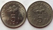 Malaysia 5 sen 1993 coin 2 pcs