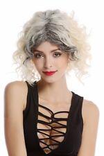 Perruque Blond Platine Herausgewachsen Dunkle Racines Crête Bouclée Court