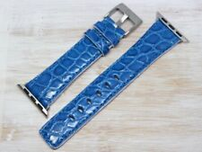 Watch Strap Apple 1 1/2in Skin Alligator Light Blue Made IN Italy Real Leather