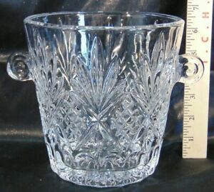 Diamond Point Crystal Cut Glass Champagne Ice Bucket Scroll Handles