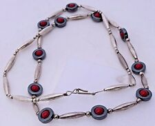 """Sterling Silver Red Beads Obsidian Beads Long Southwest 29.5"""" Necklace Vintage"""