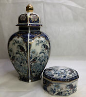 OTAGIRI PORCELAIN GINGER JAR AND TRINKET BOX BLUE ROYAL JAPAN STUNNING