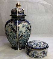 OTAGIRI PORCELAIN GINGER JAR AND TRINKET BOX BLUE ROYAL JAPAN STUNNING
