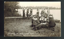 Real Picture Postcard Native American Indian Drums Dancing Wisconsin RPPC