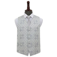 DQT New Jacquard Diamond Pattern Vest Wedding Prom Men's Waistcoat, Tie & Hanky