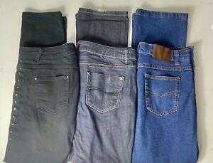 Womens Bundle Jeans Trousers x 3 PAIRS- Size 14, M&S, Blue, Black