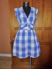 Adorable ~ GUESS ~ Blue Plaid Stretch Cotton Pockets Flared DRESS sz M