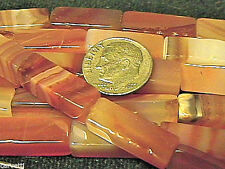 7mm x 20mm Natural Carnelian Rectangle Tube Beads (10) TEN BEADS NOT FULL STRAND