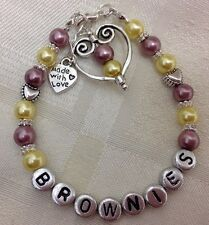 Hand Crafted - Personalised Childrens BROWNIES RAINBOWS or GUIDES Bracelet