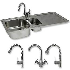 Kitchen Sink 1.5 Bowl Stainless Steel Double Basin WITH Tap  FREE  Plumbing Kit