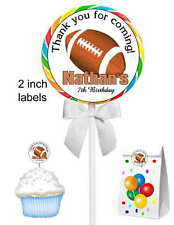 40 FOOTBALL BIRTHDAY PARTY LOLLIPOP STICKERS ~ goody bags, seals, etc