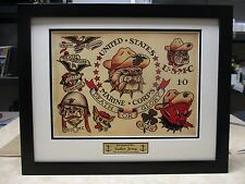 2 SAILOR JERRY Flash USMC BULLDOG & Pin Up 16x20 Custom Frames  machine rum gun