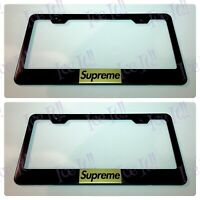 X2 Supreme New York Gold Stainless Steel Black License Plate Frame