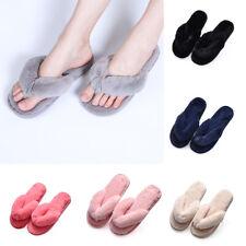 Ladies Flip Flops Mule Womens Slippers Slip On Fluffy Plush Bedroom Warm Indoor