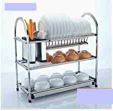 3 Tier Layers Stainless Steel Dish Plate Rack Kitchen Organizer Drain Rust Free