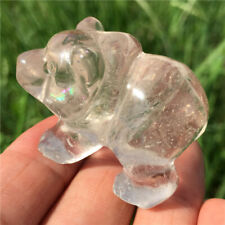 "1.5"" Natural Crystal Carved Clear Quartz Bear Crystal Skull Healing Figurine 1PC"