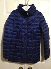 Womens Calvin Klein Blue Packable Lightweight Premium Down Puffer Jacket Small