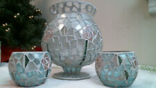 mosaic white & aqua glass candle holder w Pink flowers hurricane vase & cups