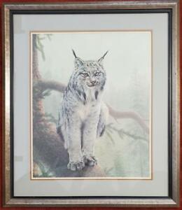 "Charles Frace ""Canada Lynx"" Signed Print, 26 x 30 Framed, PA5590"