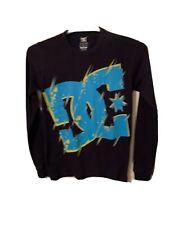 DC Men's Long Sleeve Thermal T Shirt Medium S Crewneck Logo Spellout Multicolor