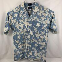 Nautica Blue 100% Silk Floral SHORT SLEEVE BUTTON UP SHIRT Medium M