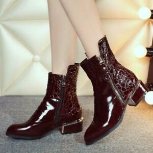 H British Women's Chunky Heels Pointy Toe Chelsea Ankle Boots Zipper Shoes Crack