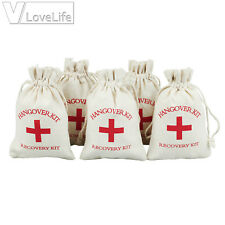 12 Hangover Survival Kit Rustic Linen Bags Cotton First Aid Hen Stag Do Party