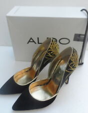 "stunning ladies Aldo black satin suede oriental embroider shoes 4"" heels 5 38"
