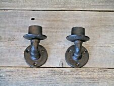 2 RUSTIC CAST IRON CANDLE HOLDERS WALL MOUNTED DECORATIVE PURPOSES ONLY
