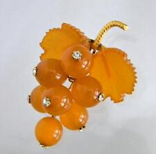 Vintage Natural Baltic Amber Grape Brooch with Rhinestones