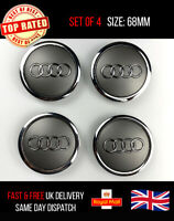 Set Of 4 Silver Grey Audi Alloy Wheel Hub Centre Caps 68mm