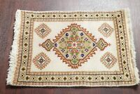 Vintage Geometric IVORY/GREEN Tabatabaei Area Rug Foyer Wool Carpet 2'x3'