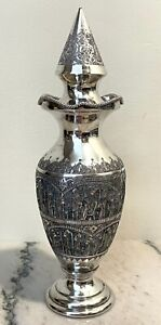 Antique PERSIAN Chased 84 Silver Vessel With Top 271.1  grams