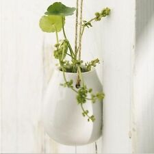 Home Garden Ceramic Green Hanging Planter Flower Pot Pots Plant Vase w Twine