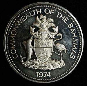 Bahamas $2 Dollars 1974 silver KM#66a 129k minted Proof Cameo Commonwealth