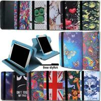 """For Various 7"""" Tablet Universal Folio Leather Rotating Stand Cover Case + Stylus"""