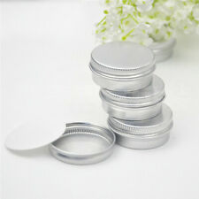 Screw Thread 2Pcs Round Lip Balm Metal Box for Travel Portable Container