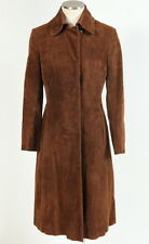 Vtg 70s Retro Brown Suede Leather Hippie Boho Duster Jacket Trench Coat Womens S