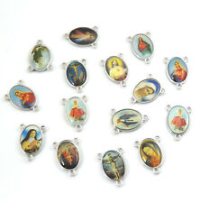 30 Mix Cross Jesus Enamel Miraculous Floral Rosary Centerpiece Pendants Charms