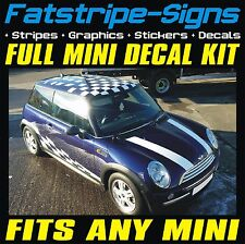 MINI STRIPES GRAPHICS DECALS CAR VINYL STICKERS CHECKER ROOF ONE COOPER JCW 1.6