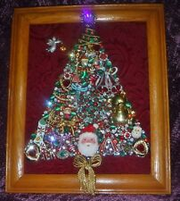 Vintage Jewelry Art Christmas Tree, signed & framed