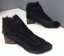 MARIA CORNEJO NWOB Black Furry Elastic Back Open Toe Slip On Heels Sz 36 B4504