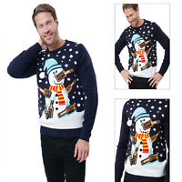 Threadbare Adults Drunk Snowman Christmas Jumper Novelty Festive Knit Sweater