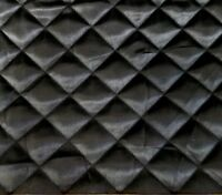 BLACK QUILTED CHARMEUSE SILKY SATIN FABRIC  BY THE YARD