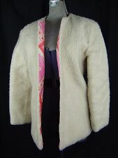 Vtg 60-70s Cream Faux Shearing Jacket w/Red/Pink Quilted Lined-Bust 37/2XS-XS