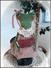 "*Primitive` Handmade *Freida the Frog Doll with Her Watermelon ""Doily Collar*"