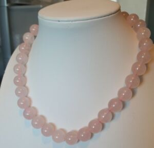 """Real Rose Quartz Necklace 925 sterling silver clasp 16"""""""