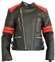 MENS REAL LEATHER  MORTORBIKE MOTORCYCLE / BIKER JACKET All Sizes NEW Old School
